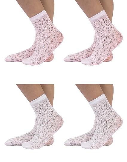 4 PARES Calcetines para Niñas | Calcetines Calados | Calcetines Efecto Perle | Blanco y Rosa