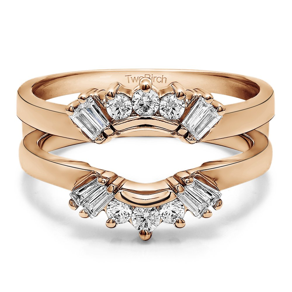 TwoBirch 3/4 ct. Cubic Zirconia Sunburst Style Ring Guard with Round and Baguette Cut Stones in Rose Gold Plated Sterling Silver (0.73 ct. twt.)