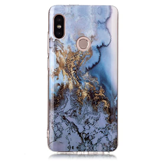 timeless design 0a735 81f38 Case for Xiaomi Redmi Note 5 Pro, Glossy Marble Pattern Slim Hard Soft  Silicone Back Case Cover Fit for Redmi Note 5 Pro (Sea blue)
