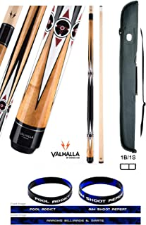 product image for Valhalla VA481 by Viking 2 Piece Pool Cue Stick, No Wrap Design, HD Graphic Transfers, Nickel Silver Rings, High Impact Ferrule, 18-21 oz. Plus Cue Case & Bracelet