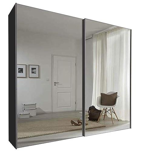 Armadio Ante Scorrevoli 360 Cm.Sliding Robe Schlafzimmer Komet Nero Specchio Armadio Ante