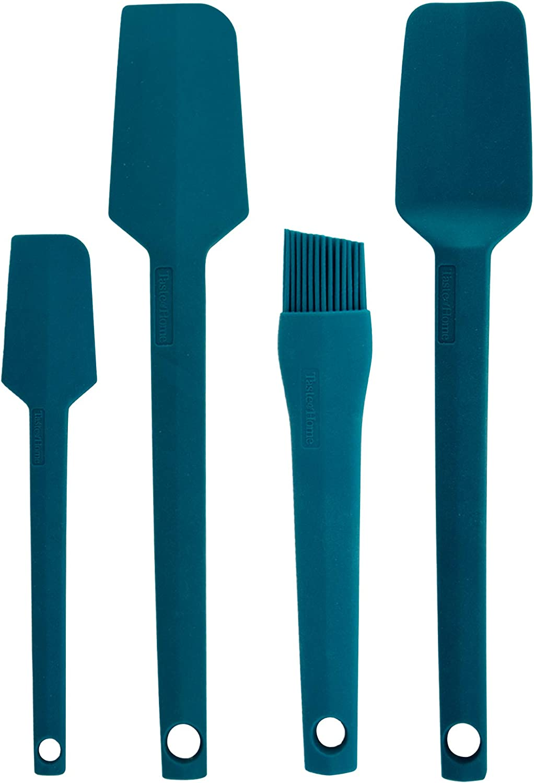 Taste of Home 4 Piece Sea Green Silicone Utensil Set - Includes Spatula, Spoonula, Basting/Pastry Brush & Mini Spatula