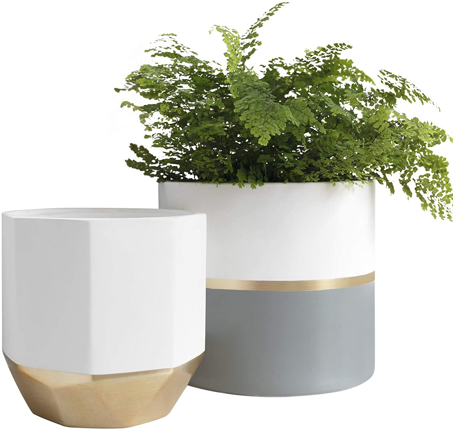 Large White Ceramic Plant Pots - Garden Planters 10 Inch Pack 2 Indoor Flower Pots, Plant Containers with Gold and Grey Detailing