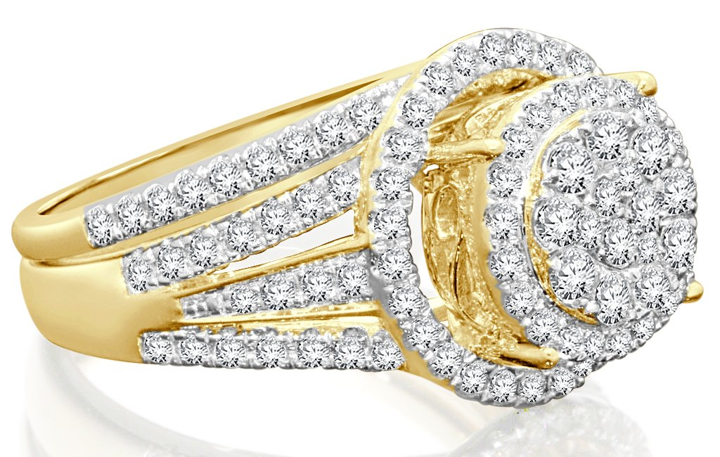 Halo Channel Diamond Engagement Ring - 10K Yellow Gold, 1.25 Carat Diamond. Real Diamond Wedding Rings for Women