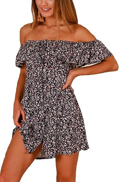 Womens Beach Vestido Floral Summer Off Shoulder Mini Botón Vestidos Boho Black S