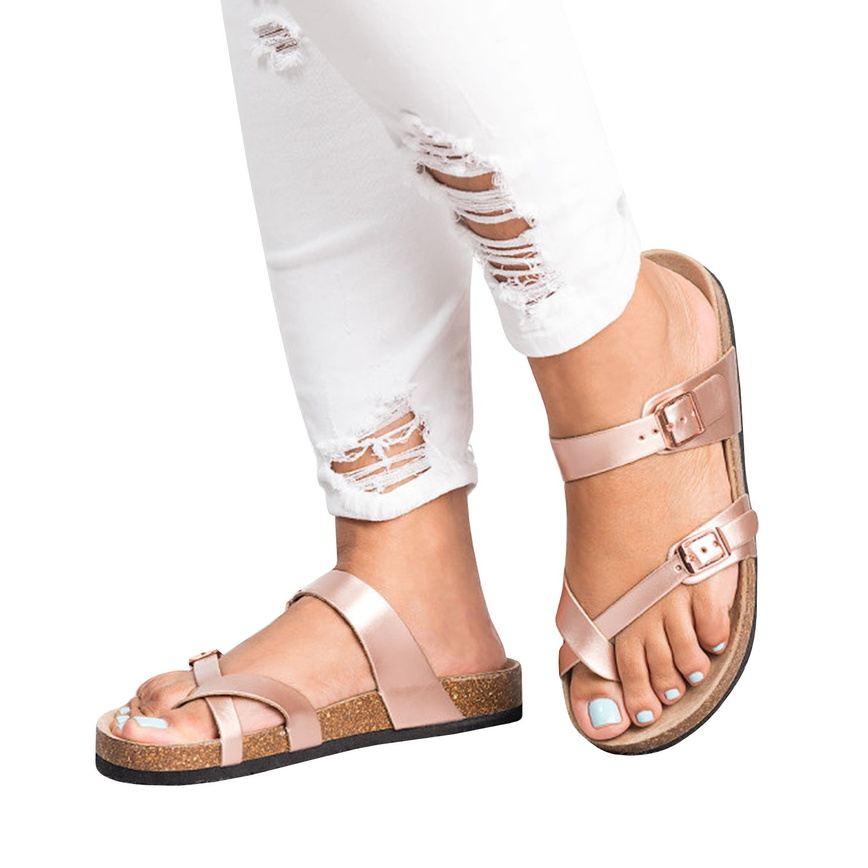 FISACE Womens Cross Toe Flat Sandals Double Buckle Strap Summer Beach Sandal Shoes