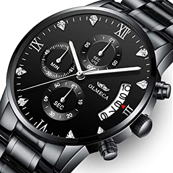 Mens Watches Luxury Sports Casual Quartz Wristwatches Waterproof Chronograph Calendar Date Stainless Steel Band Black Color