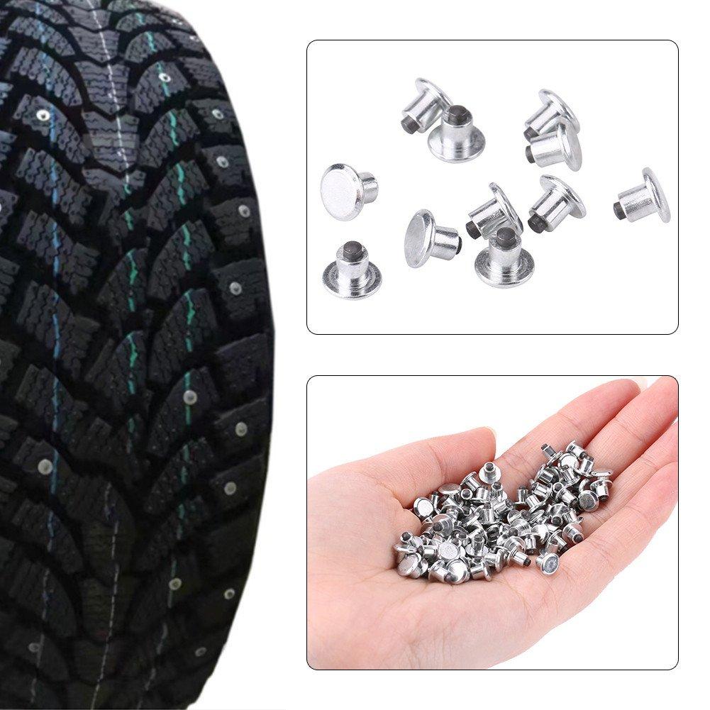 Qiilu 100pcs 6.5mm//0.26 Wheel Tyre Stud Screws Snow Tire Spikes for Bike Car Motorcycle ATV Shoes
