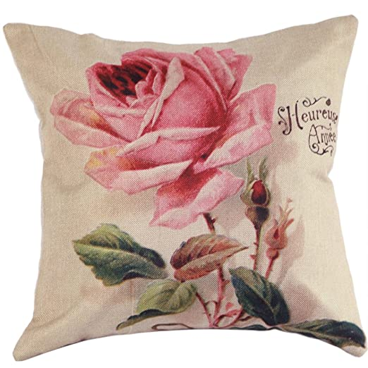 amazingdeal rosas algodón lino funda de almohada cojín manta ...