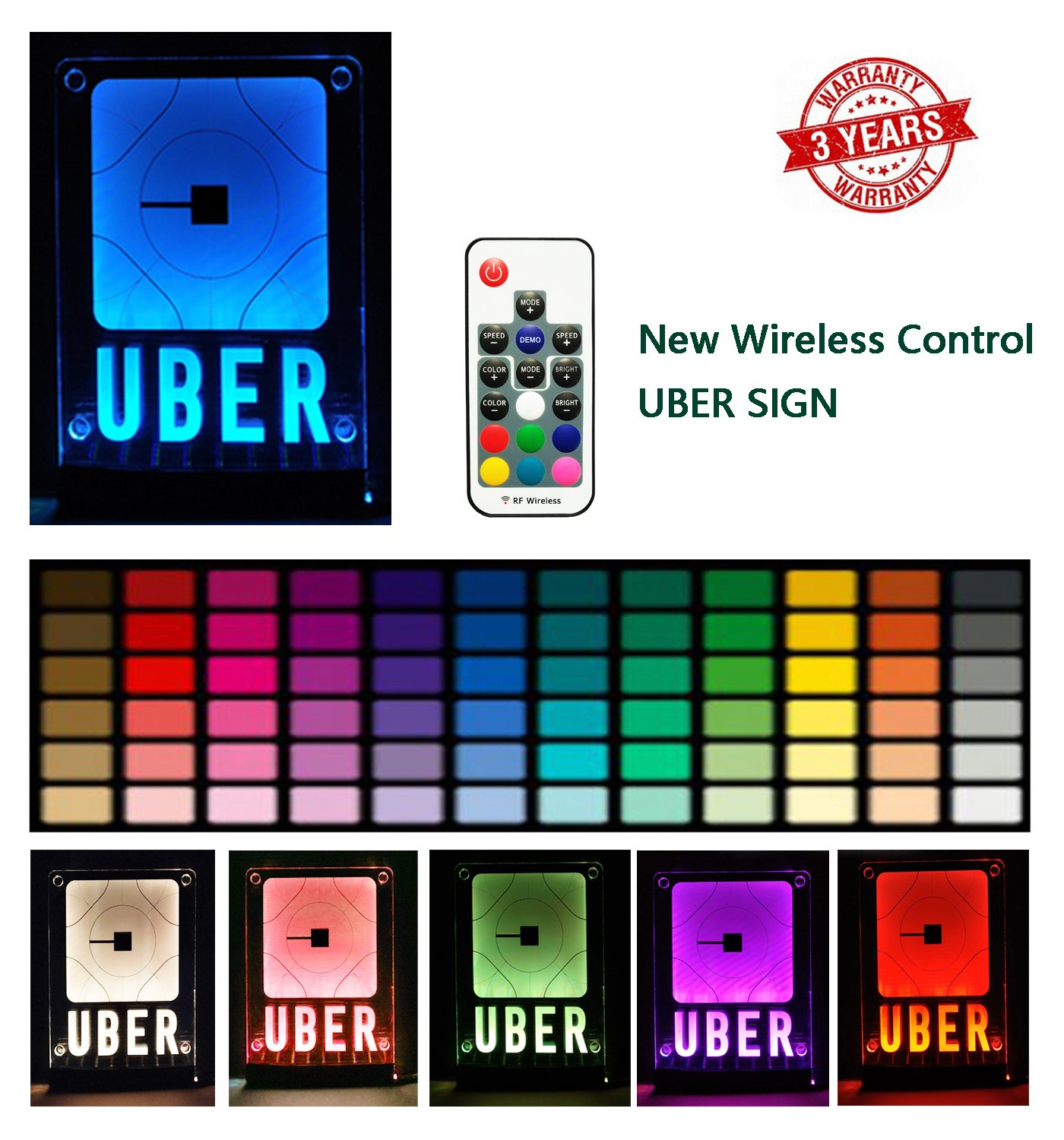 ZPO Uber Sign, LED Logo Light,Decal Glow Accessories, Wireless Control,Remote Intelligent Control 16 Glowing Colors 4 Control Modes, Uber Lyft Sign Light Up Sticker For Car,30M Wide signal coverage