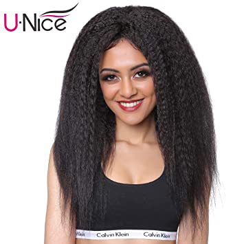 Amazon.com   Unice Bettyou Kinky Straight Lace Front Human Hair Wigs for  Black Women Brazilian Remy Hair Italian Yaki Wig with baby Hair 130%  Density ... db37f9877e