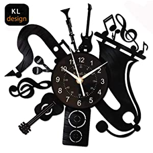 KingLive Music Instrument Black Wall Clock 12 Inches(30cm) Home Interior Decor Wall Art Wall Sticker Exclusive Tailoring Design for Music Lovers (Music B)