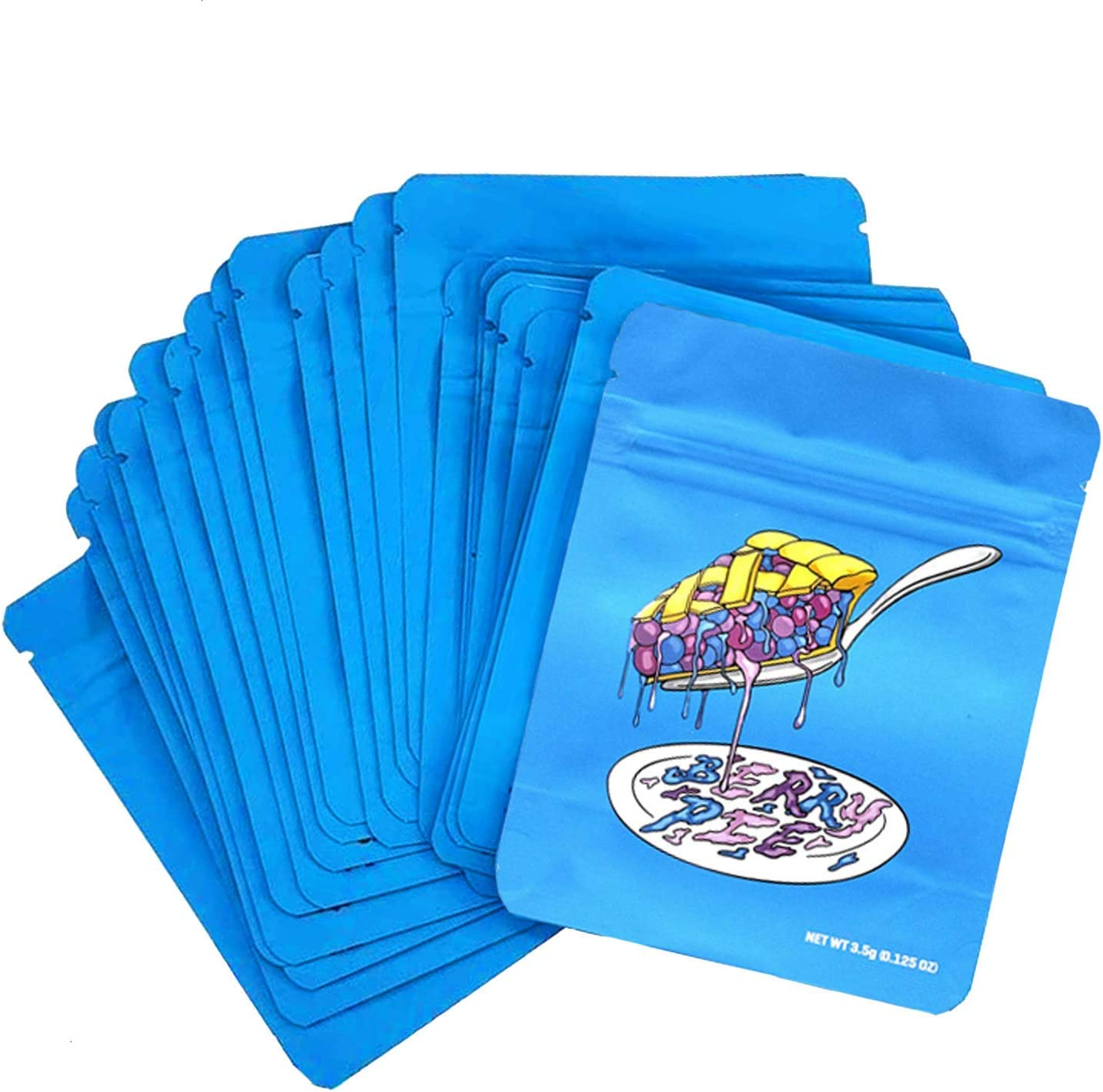 100 Pcs Cookies Pancakes Premium,HeatSeal Smellproof Mylar Bags Resealable Stand-up Ziplock Foil Bags wIth Holo Stickers and Labels,Food Safe Plastic Aluminum Material