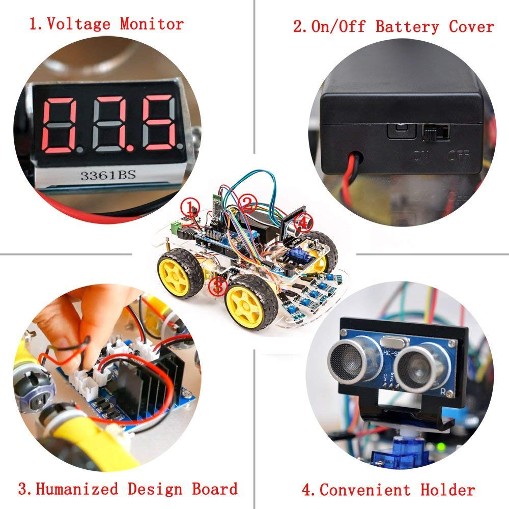 OSOYOO Robot Smart Car for Arduino DIY Learning Kit with Tutorial Android/  iOS APP WiFi Bluetooth IR Modules and Line Tracking Ultrasonic Sensors