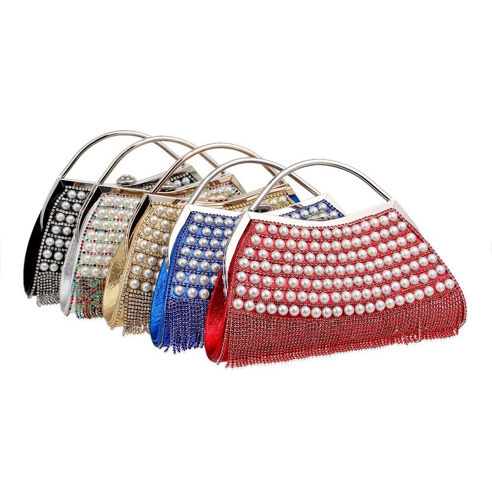 DASEXY DASEXY DASEXY Stilvolle Einfachheit Partei Abend Handtaschen Frauen Sparkly Strass Kristall Perle Handtasche Mit Quaste Hochzeit Prom Taschen Damentasche, Handtasche (Farbe   Blau) B07NXR55QC Clutches eine große Vielfalt von Waren f50cc3