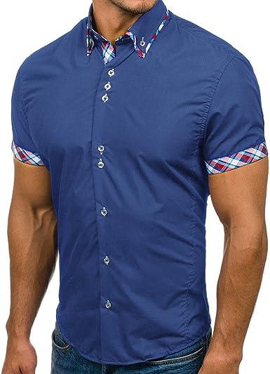 Details zu Herrenhemden Kurzarm Slim Fit Hemden Gr.S XXL