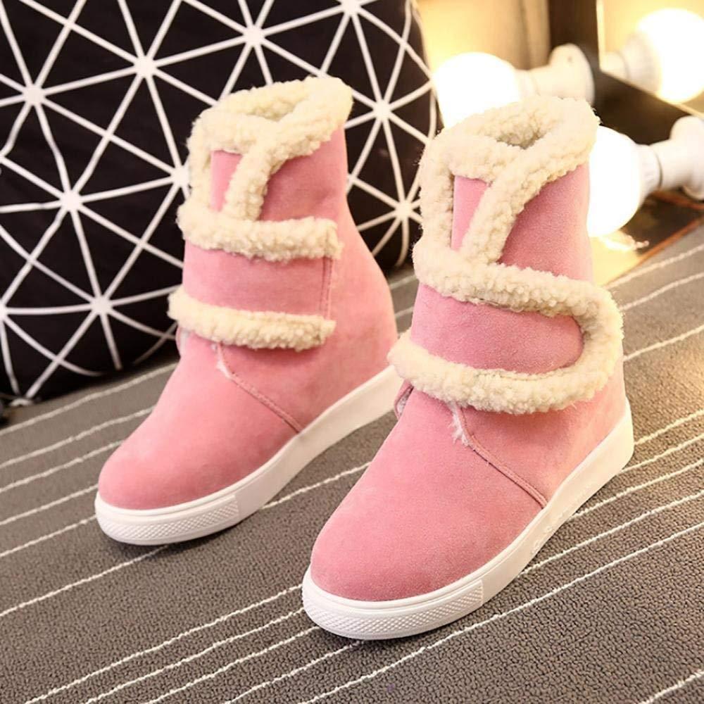 Oudan Stiefel Stiefel Stiefel Schnee Stiefel Damen Schuhe Winter Warm Pelz Stiefel Stiefeletten Schneestiefel (Farbe   Rosa, Größe   39)  30816a