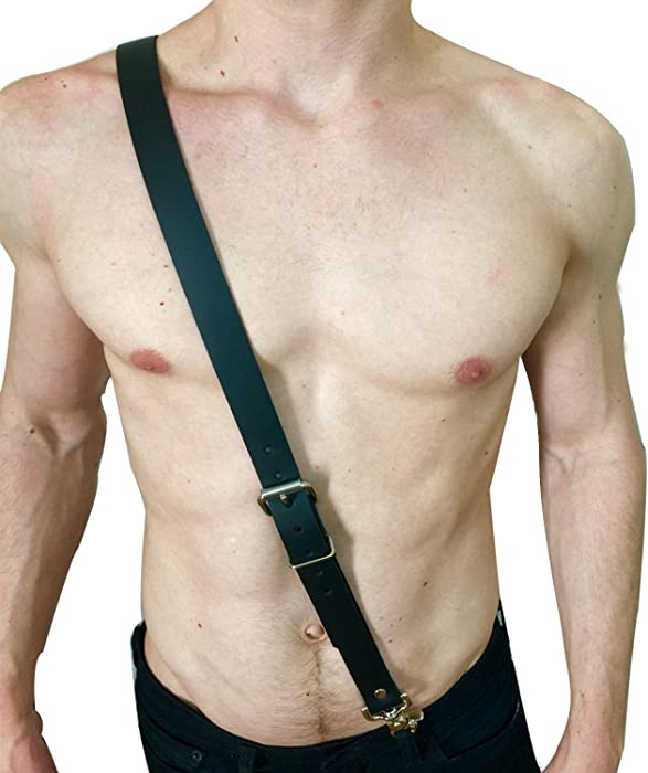 Men s Adjustable Leather Body Chest Half Harness Belt High Elastic ...