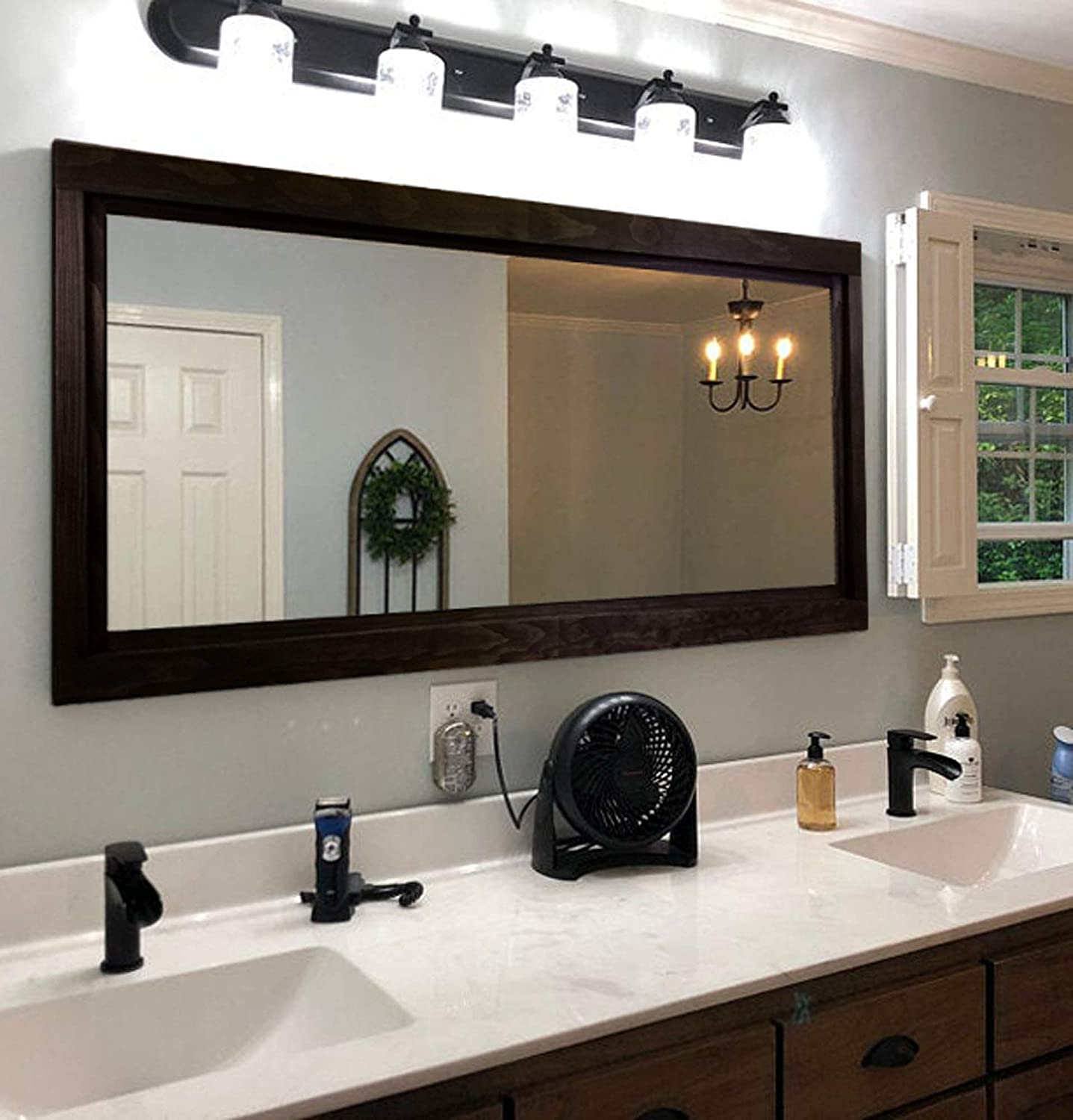 Amazon Com Farmhouse Framed Wall Mirror 20 Stain Colors Vanity Mirror Rustic Home Decor Double Vanity Mirror Over Sink Mirror Wall Mount Black Frame Bathroom Mirror Large Mirror Handmade