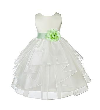 7750d2568 Ivory Satin Shimmering Organza Junior Flower Girl Dresses Bridal Dress  4613S 2