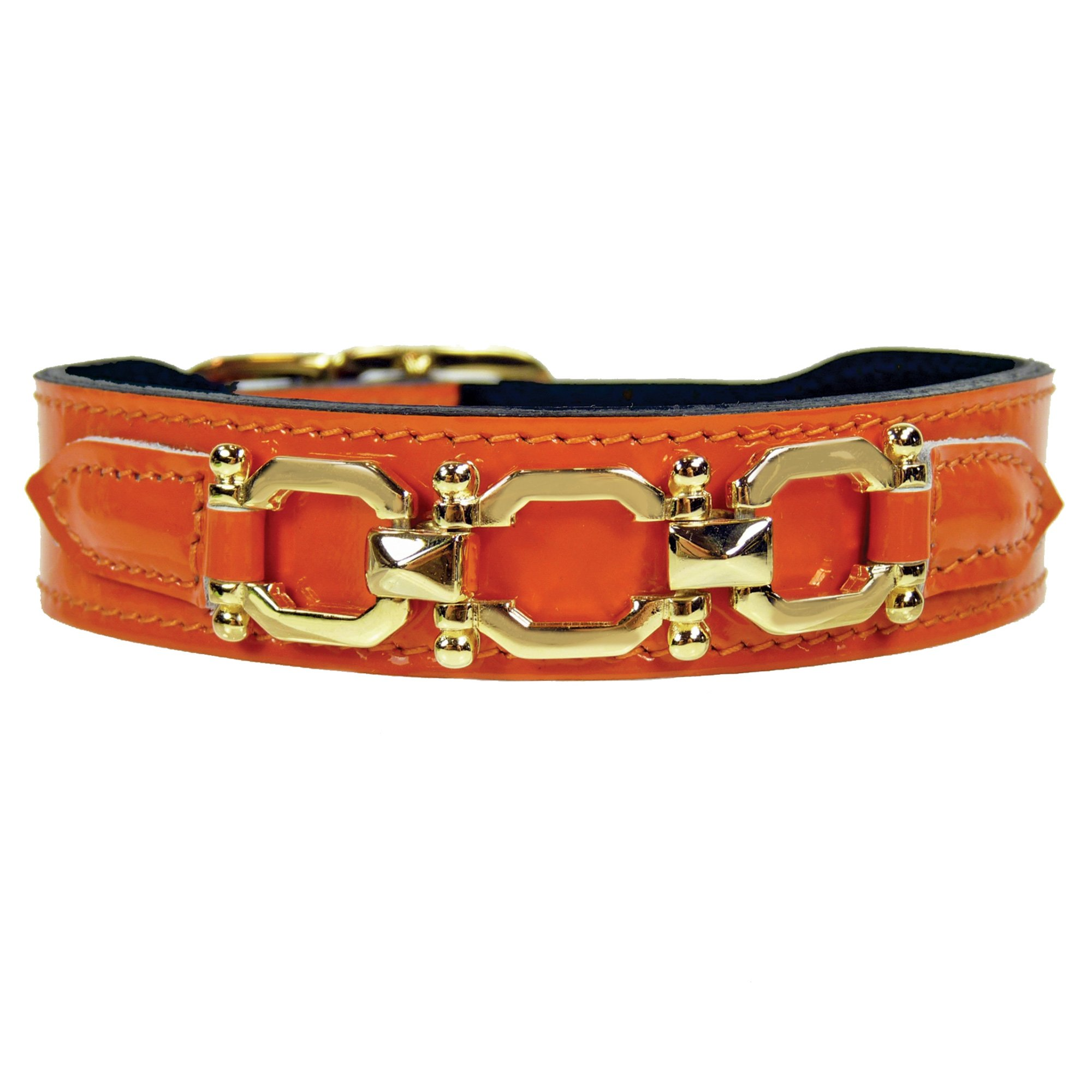 Hartman & Rose Georgia Rose Collection Dog Collar, Orange Patent, 14-16-Inch