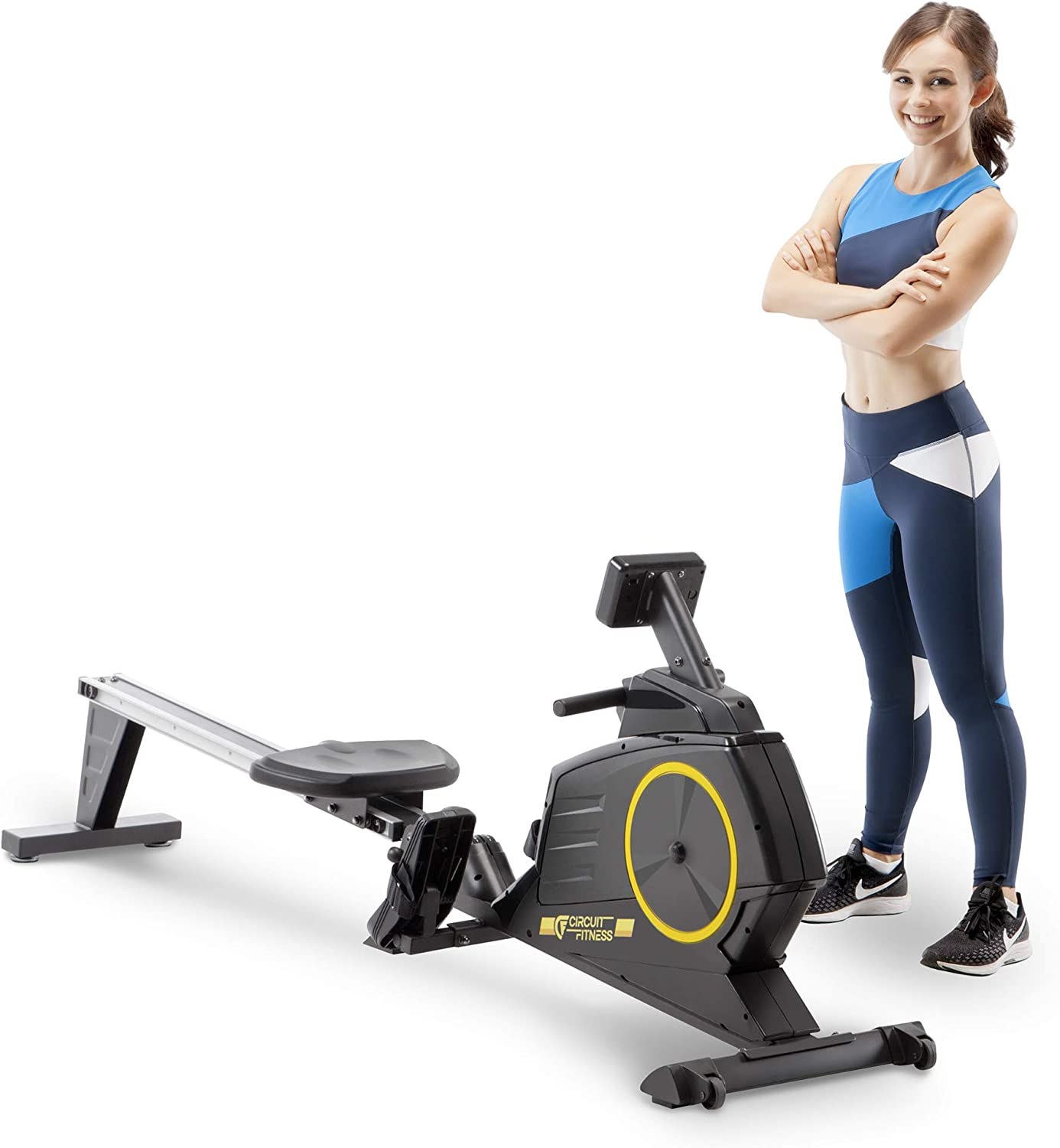 CIRCUIT FITNESS Deluxe Foldable Magnetic Rowing Machine with 8 Resistance Setting & Transport Wheels - Yellow