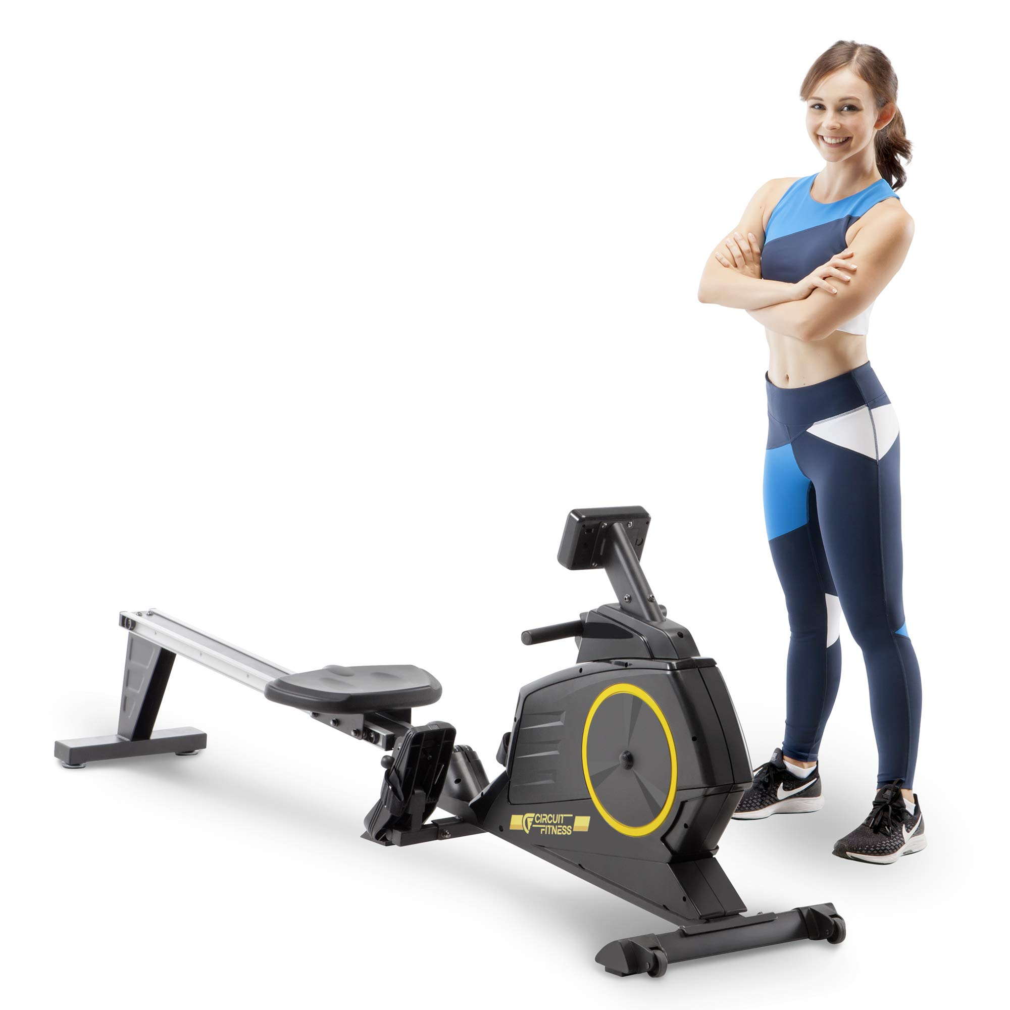 CIRCUIT FITNESS Deluxe Foldable Magnetic Rowing Machine with 8 Resistance Setting & Transport Wheels - Yellow by CIRCUIT FITNESS
