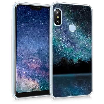 kwmobile Funda para Xiaomi Redmi 6 Pro/Mi A2 Lite - Carcasa de [TPU] para móvil y diseño del Cielo Estrellado en [Azul/Negro]