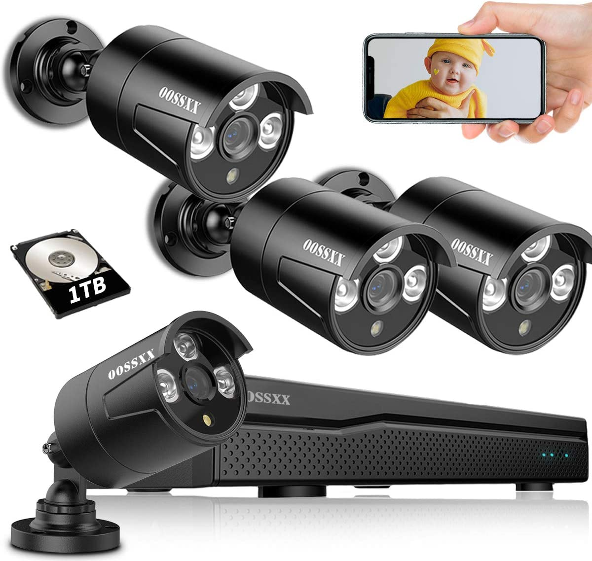 OOSSXX 5MP Lite 8CH Home Security Camera System with 1TB Hard Drive H.265+ DVR CCTV Recorder 4pcs HD 960P Outdoor Surveillance Cameras Night Vision Easy Remote Access Motion Alert Smart Playback
