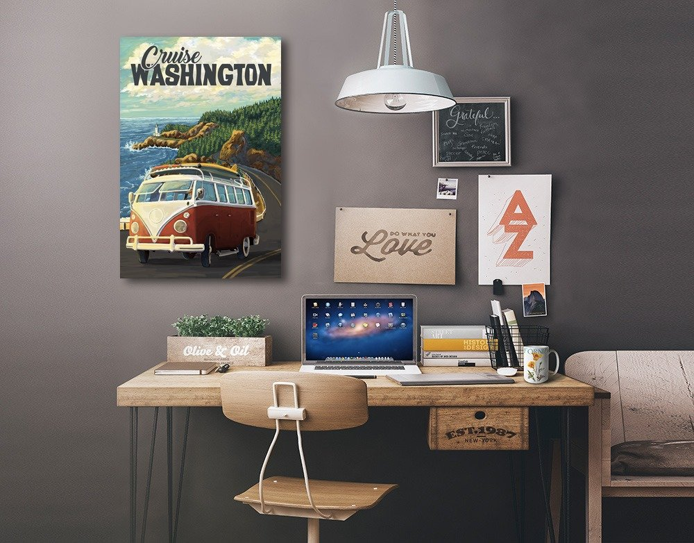 Camper Van Coastal Drive Cruise 24x36 Gallery Wrapped Stretched Canvas Cruise Washington