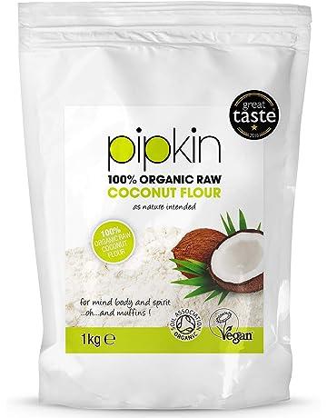 Pipkin 1KG de Harina Orgánica de Coco, Sin Refinar, Cruda, Sin Gluten,