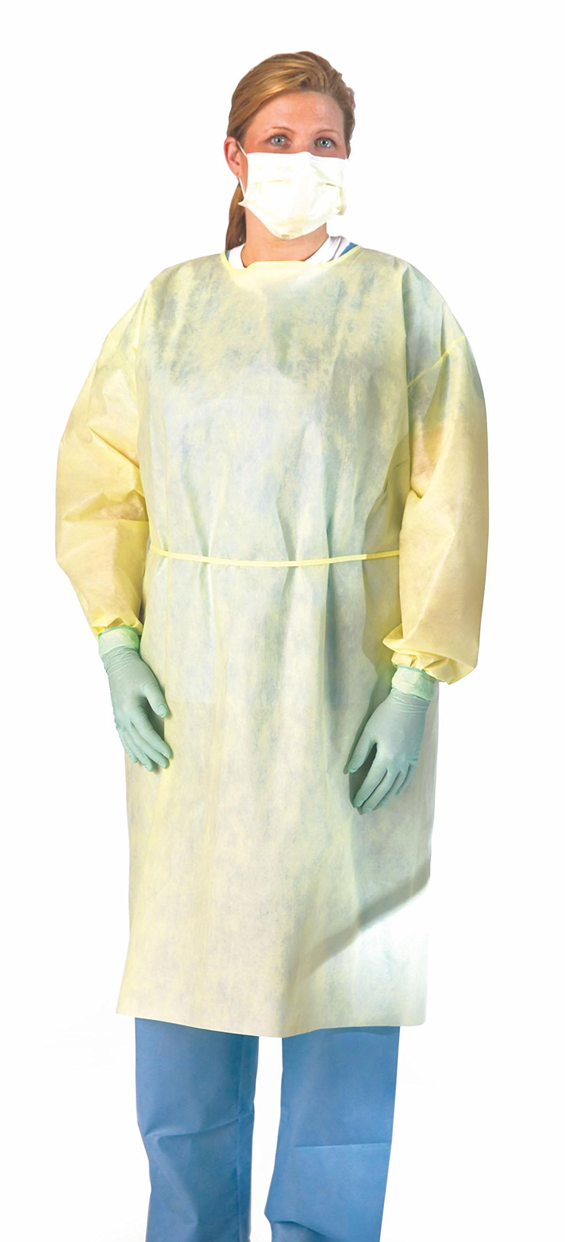 Medline NON27SMS2XXXL Multi-Ply Fluid Resistant Isolation Gown with Neck and Waist Tie, Latex Free, XXX-Large, Yellow (Pack of 100)