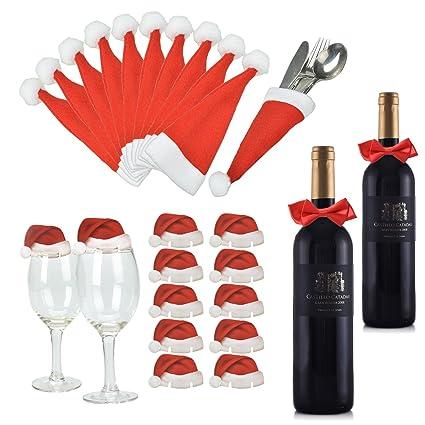 Lynlon Navidad mesa de Santa Claus sombrero [10 cubiertos bolsa + 10 copas de vino