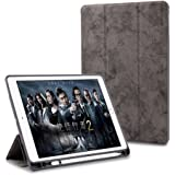 """ProElite Smart PU Flip Case Cover for Apple iPad 9.7"""" Air 1 Air 2 2017 2018 (A1893/A1954) (Grey) with Pencil Holder"""