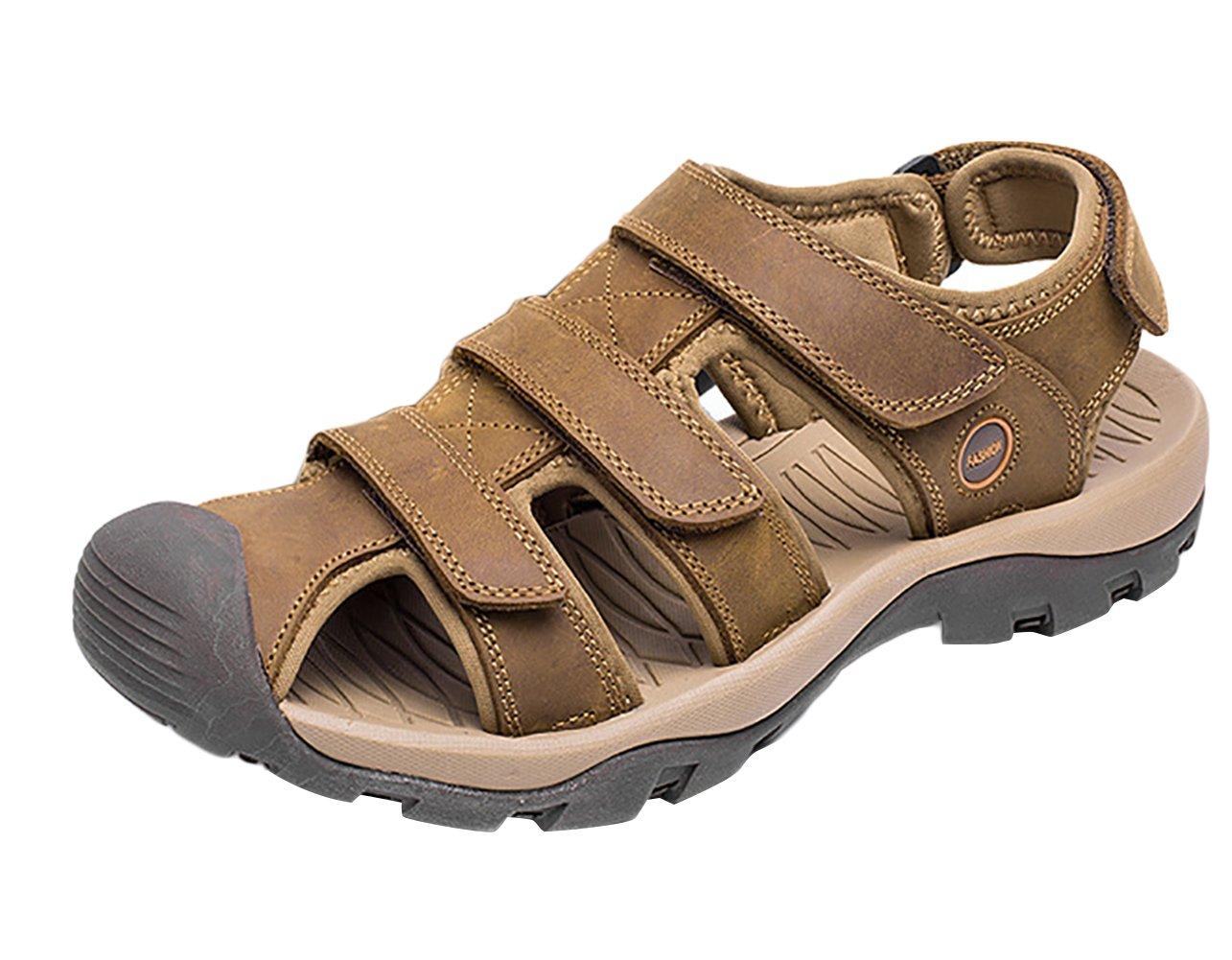 SK Studio Punta Cerrada Sandalias Hombre Trekking de Cuero Talla Grande Transpirables Zapatos Con Velcro 40 EU|Marrón Claro