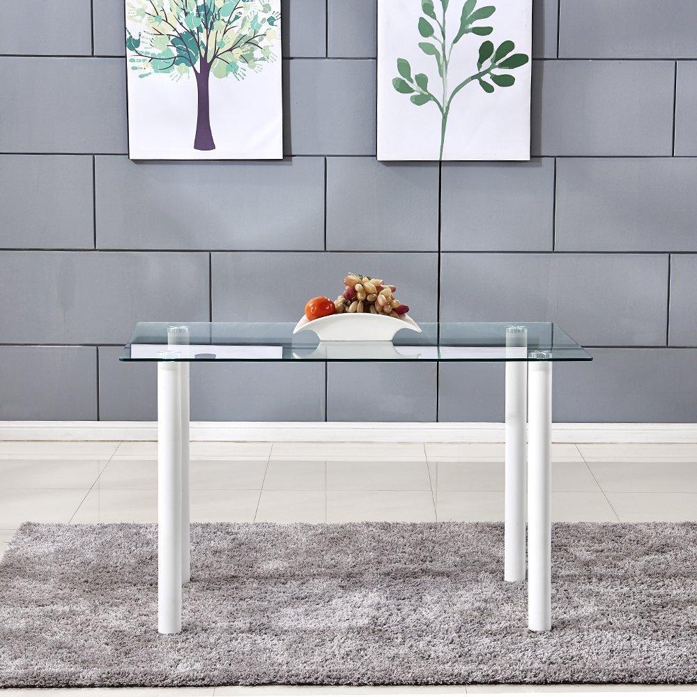 OSPI/® Cristal Templado Mesa de Comedor con Patas de Metal Muebles de Comedor