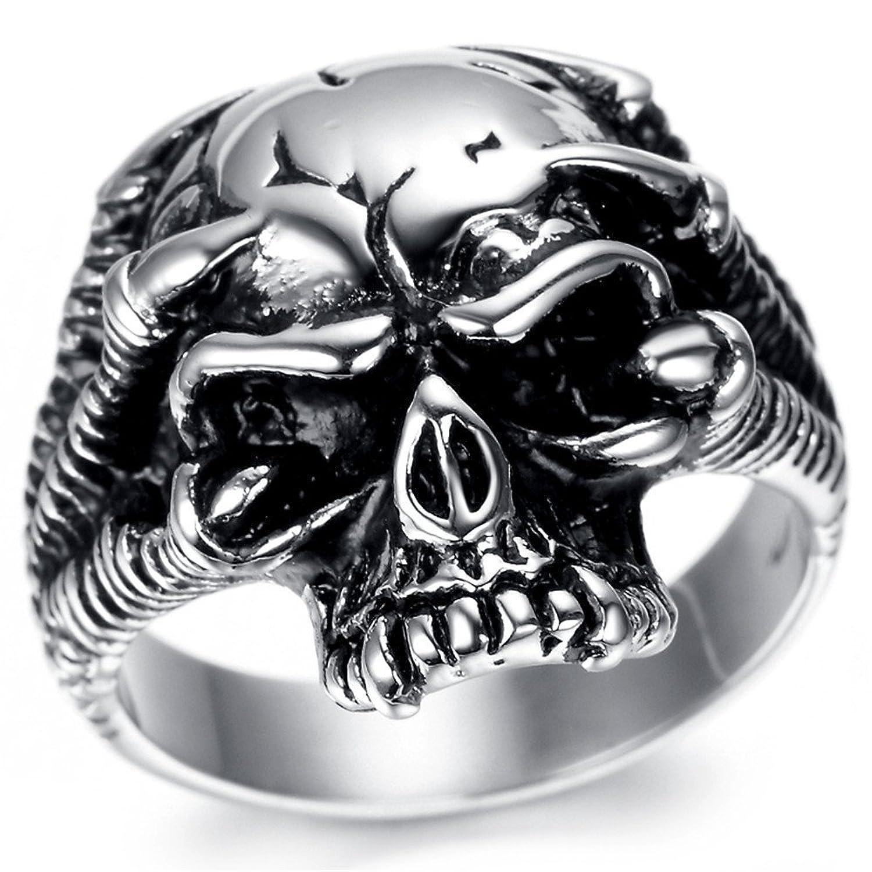 Kstyle Jewelry Mens Stainless Steel Ring, Vintage, Biker, Silver, Skull KR1944
