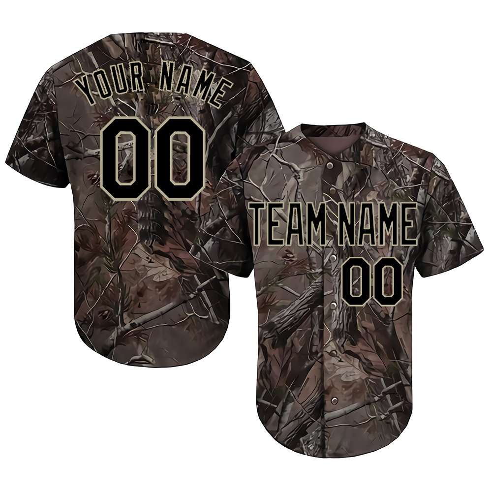 Custom Youth Realtree Camo Baseball Softball Jersey with Embroidered Your Name & Numbers,Black-Gold Size XL by DEHUI