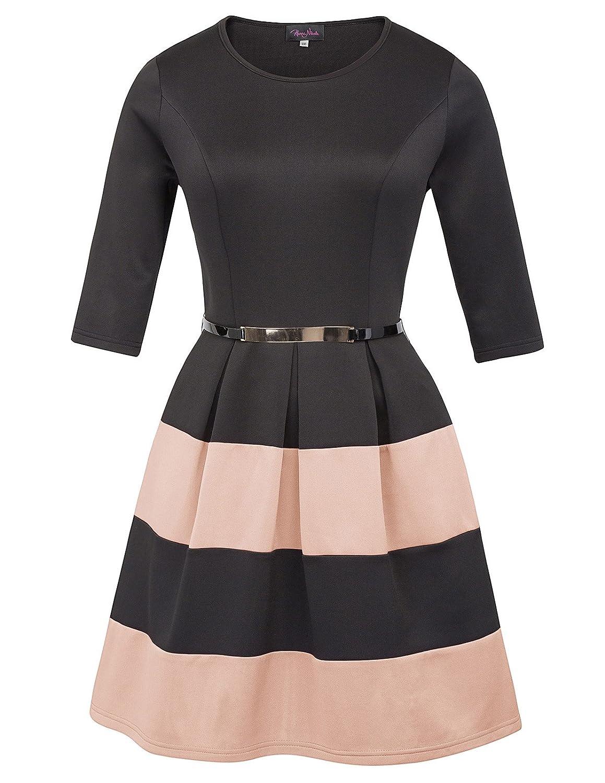 Pink Hanna Nikole Women Plus Size Stripe Dress Scoop Neck 3 4 Sleeve Vintage Belted Dress