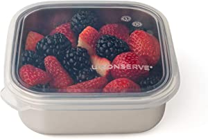 U-Konserve To-Go Stainless Steel Square Food-Storage Bento Box Container 15oz - Clear Silicone Lid - Leak Proof and Airtight - Dishwasher Safe - Plastic Free