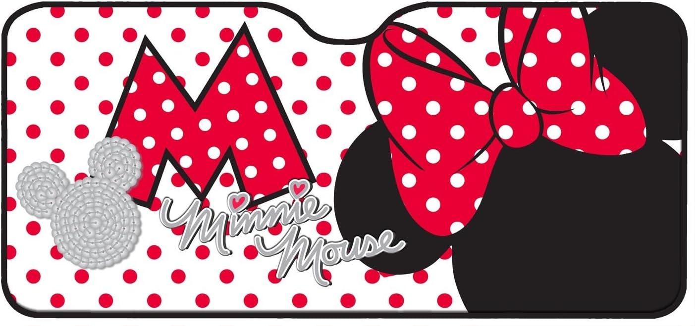 Mickey Mouse 26061 - Parasol de Aluminio para Parabrisas Delantero con diseño de Minnie Mouse (130x70cm, 1 Unidad), Color Rosa y Negro