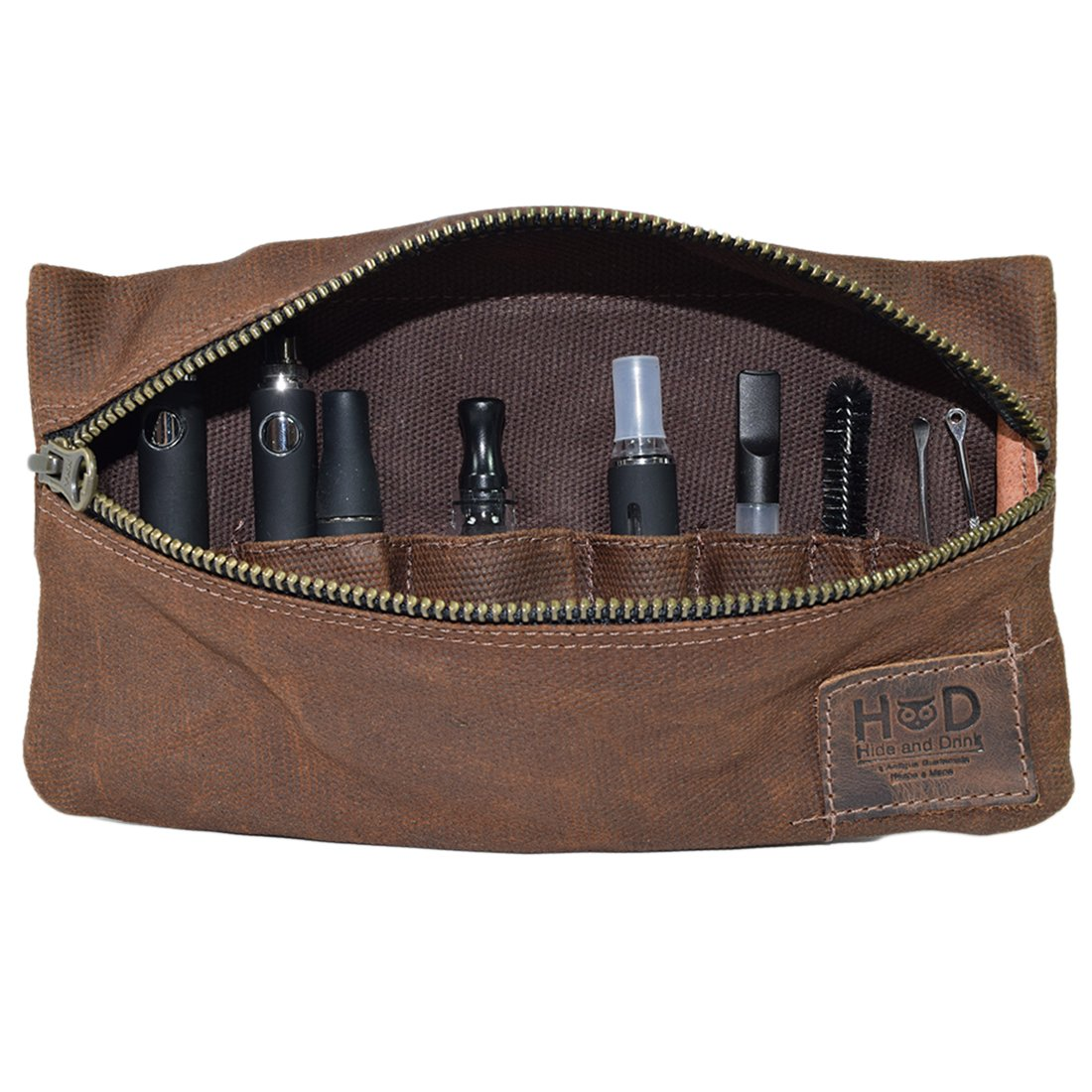 Waxed Canvas Vape Pen Accessories Kit Pouch Holder, Secure Fit, Cord Storage, G Pen Soft Travel Bag Handmade by Hide & Drink :: Honey Bourbon