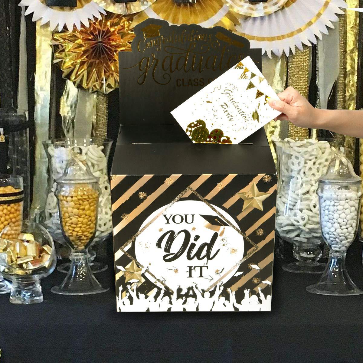 Graduation Card Box Holder - Graduation 2019 Party Favor Durable Supplies - You Did It & Adventures Begins Party Decorations