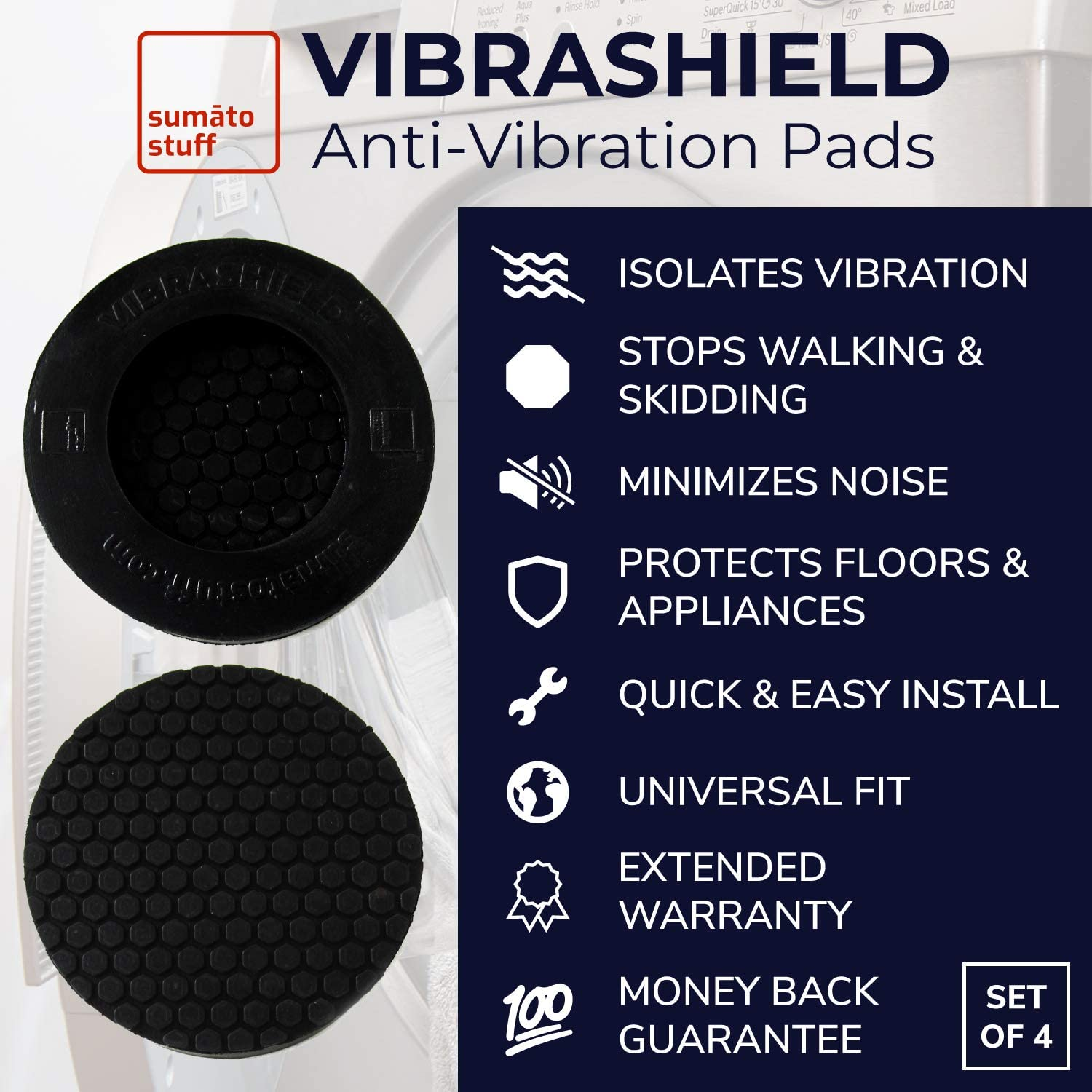 Shock Absorbing Non Slip Grip Feet Pad for Washer Dryer Appliance Prevent Noise Moving Shaking Walking VibraShield Anti Vibration Pads for Washing Machine w//Dual HexaGrip Universal Fit - 4 Pack