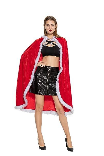 Amazon.com: Disfraz de Navidad para mujer, con cappa y ...