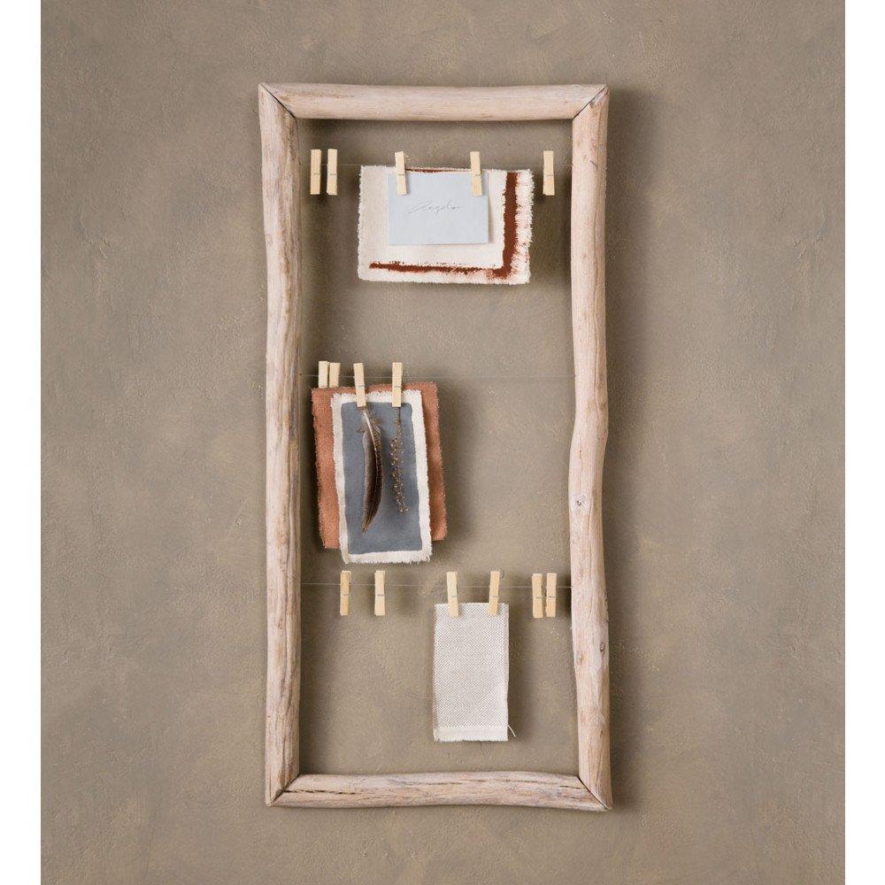 Vivaterra Fir Wood Framed Clothes Pin Memo Board - 18.5 W x 2.25 D x 39.25 H