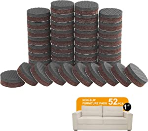 Non Slip Furniture Pads -52pcs 1'' Furniture Grippers, Non Skid for Furniture Legs, Self Adhesive Rubber Feet Furniture Feet, Anti Slide Furniture Hardwood Floor Protector for Keep Furniture Stoppers