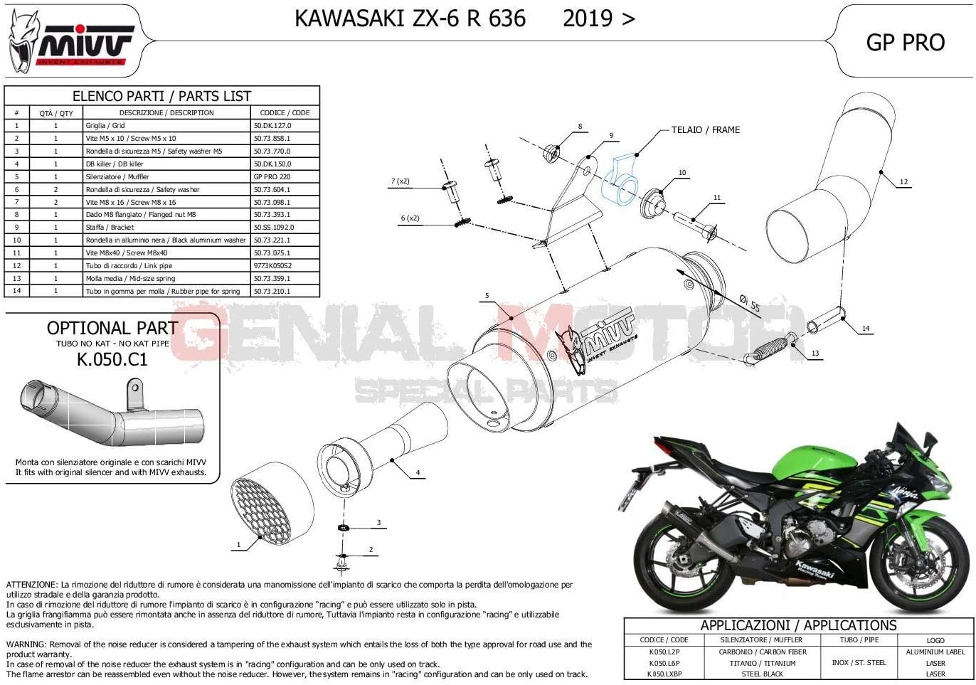 K.050.L2P Terminale Scarico MIVV GP PRO Carbonio kat per KAWASAKI ZX-6 R 636 2019  2020