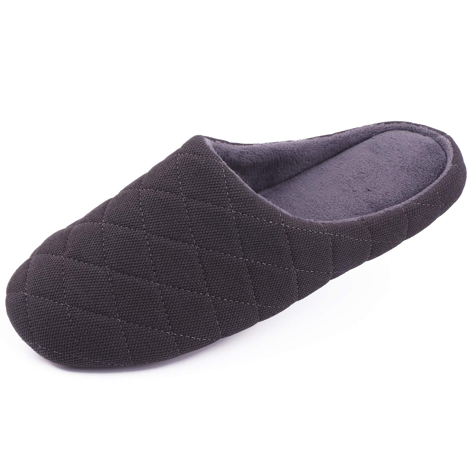 HomeTop Men's Comfort Quilted Cotton Memory Foam House Slippers Slip On House Shoes