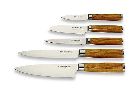 Echtwerk Damastmesser Set 5 teilig, VG-10 Damaststahl, Küchenmesser, Damaszener, Messer, Holzgriff, Braun/Silber 36 x 23 x 3,